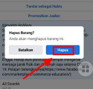 cara hapus postingan di marketplace fb