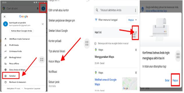 cara hapus history di google maps