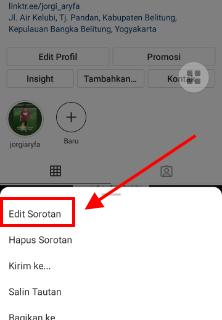 cara mengganti nama sorotan di instagram